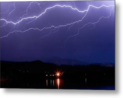 Cloud To Cloud Horizontal Lightning Metal Print by James BO  Insogna