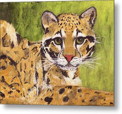 Metal Print featuring the painting Clouded Cat by Jamie Frier