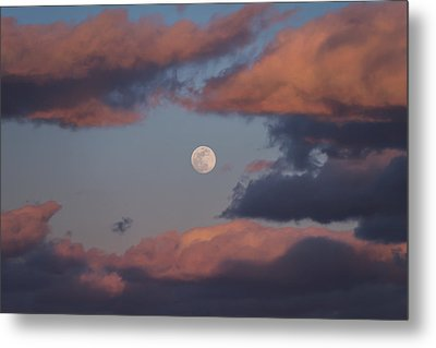 Metal Print featuring the photograph Clouds And Moon March 2017 by Terry DeLuco