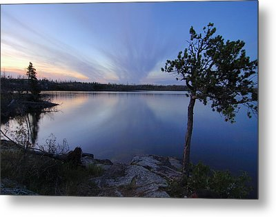 Clouds At Sunset On Seagull Lake Metal Print by Larry Ricker