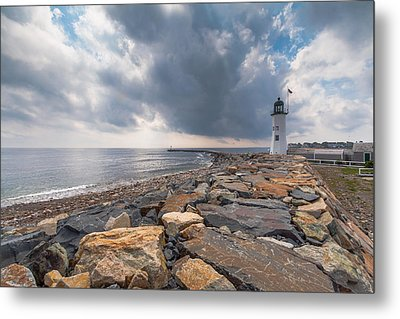Clouds Over Old Scituate Light Metal Print