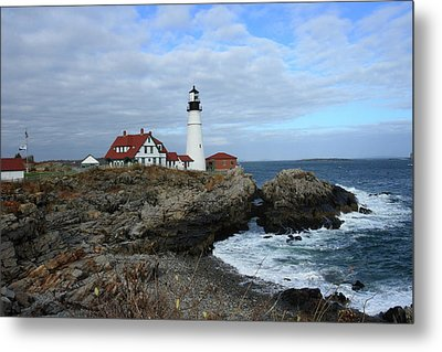 Clouds Over Portland Head Lighthouse Metal Print by Lou Ford