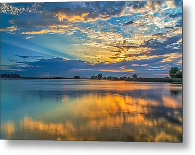 Clouds Reflected At Sunrise Metal Print by Marc Crumpler