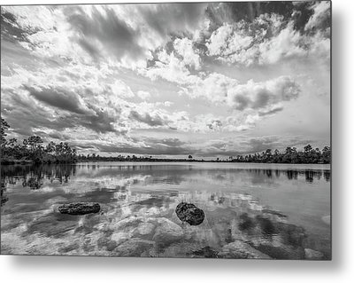 Clouds Touching The Water Metal Print by Jon Glaser