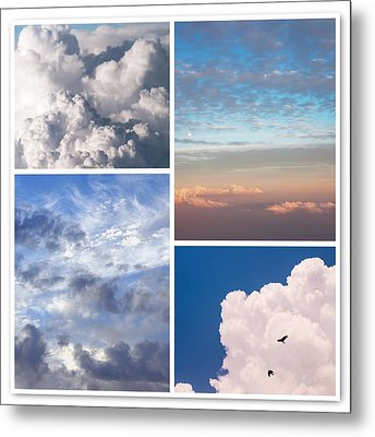 Metal Print featuring the photograph Cloudscapes Collage by Jenny Rainbow