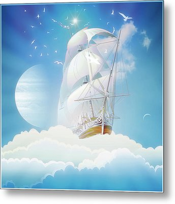Cloudship Metal Print by Harald Dastis