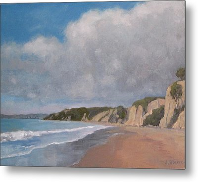 Cloudy Day At Summerland Beach Metal Print by Jennifer Boswell
