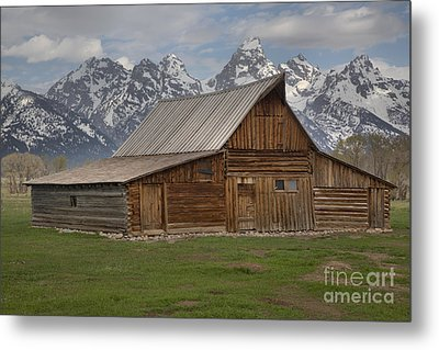 Cloudy Day At The Moulton Barn Metal Print by Adam Jewell