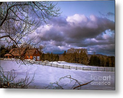 Cloudy Day In Vermont Metal Print