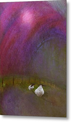 Metal Print featuring the digital art Cloudy Day Sheep by Jean Moore