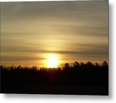 Metal Print featuring the photograph Cloudy Golden Sky At Dawn by Kent Lorentzen