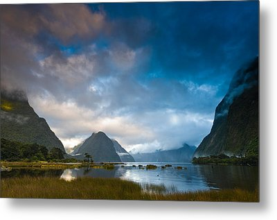Cloudy Morning At Milford Sound At Sunrise Metal Print by Ulrich Schade