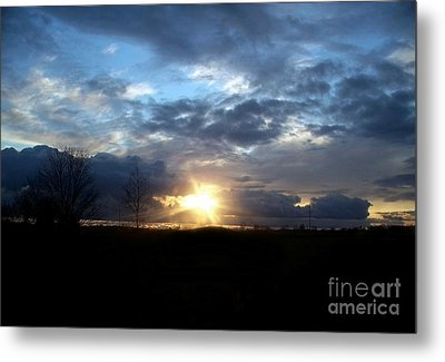 Cloudy Sunset Metal Print by Emily Kelley
