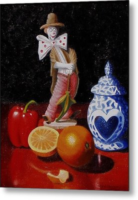 Metal Print featuring the painting Clown Around Fruit by Gene Gregory