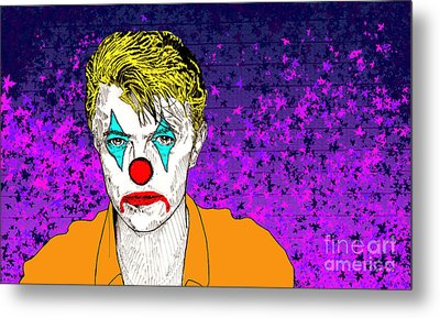 Metal Print featuring the drawing Clown David Bowie by Jason Tricktop Matthews