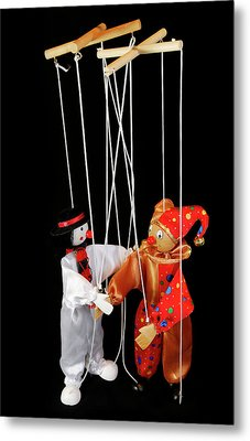 Clown Marionettes Shaking Hands On A Black Background With Suspe Metal Print by Reimar Gaertner
