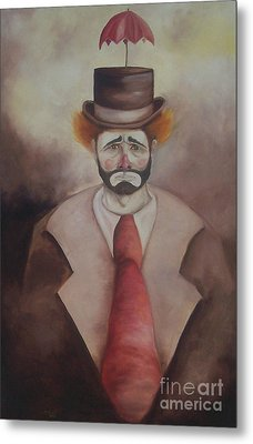 Metal Print featuring the painting Clown by Marlene Book