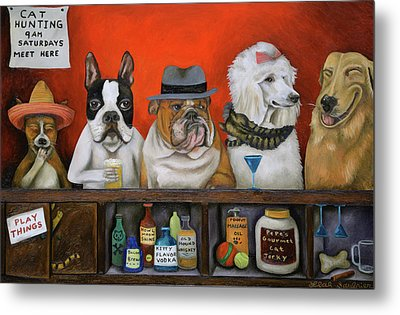 Metal Print featuring the painting Club K9 by Leah Saulnier The Painting Maniac