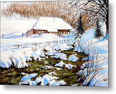 Clubhouse In Winter Metal Print by Sher Nasser