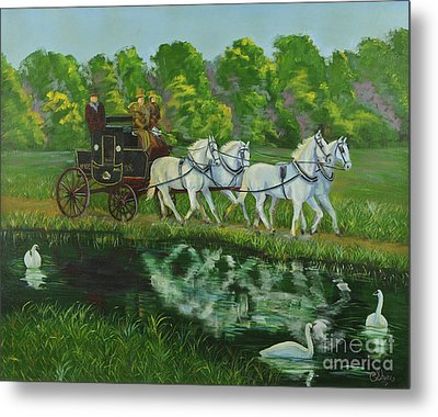 Coach And Four In Hand Metal Print by Charlotte Blanchard