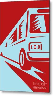 Coach Bus Coming Up Metal Print by Aloysius Patrimonio