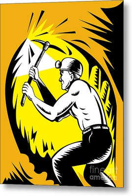 Coal Miner At Work Metal Print by Aloysius Patrimonio