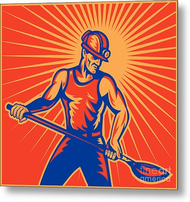 Coal Miner At Work With Shovel Front View Metal Print by Aloysius Patrimonio