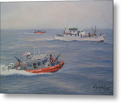 Coast Guard Nets Catch Of The Day Metal Print by William H RaVell III