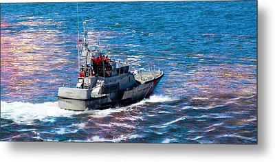 Blue Metal Print featuring the photograph Coast Guard Out To Sea by Aaron Berg
