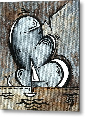 Coastal Art Contemporary Sailboat Painting Whimsical Design Silver Sea II By Madart Metal Print by Megan Duncanson
