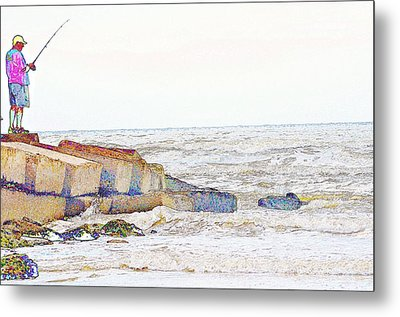 Metal Print featuring the drawing Coastal Fishing by John Collins