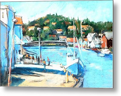 Coastal Fishing Village Metal Print by Joan  Jones