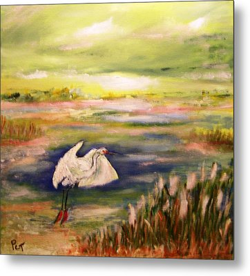 Coastal Marsh With White Heron Metal Print by Patricia Taylor