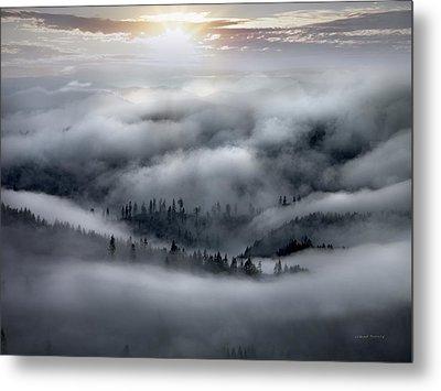 Coastal Range Ocean Fog Metal Print by Leland D Howard