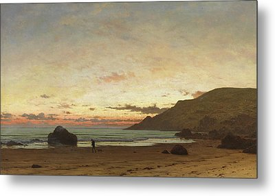 Coastal Scene With A Man And A Dog Metal Print by Frederick William Meyer