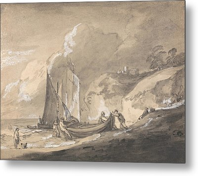 Coastal Scene With Figures And Boats  Metal Print