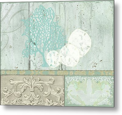 Coastal Trade Winds 1 - Sand Dollars Fan Coral Driftwood Watercolor Metal Print by Audrey Jeanne Roberts