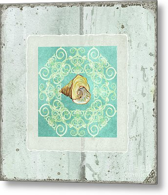 Coastal Trade Winds 2 - Driftwood Seashell Scrollwork Metal Print by Audrey Jeanne Roberts
