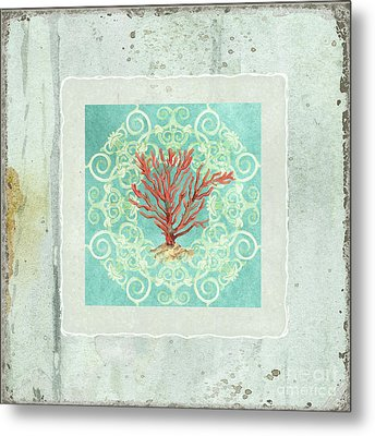Coastal Trade Winds 3 - Driftwood Red Coral Seashell Scrollwork Metal Print by Audrey Jeanne Roberts