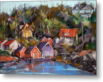 Coastal Village Metal Print by Joan  Jones
