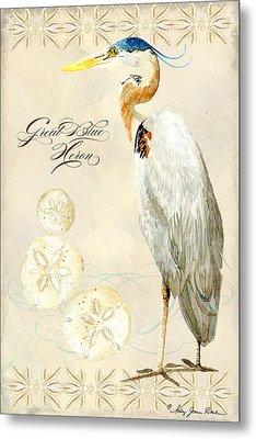 Coastal Waterways - Great Blue Heron Metal Print by Audrey Jeanne Roberts