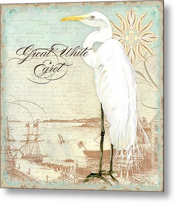 Coastal Waterways - Great White Egret 2 Metal Print