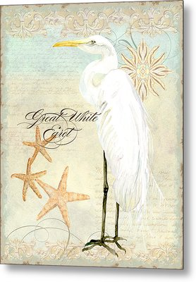 Coastal Waterways - Great White Egret 3 Metal Print