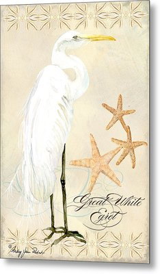 Coastal Waterways - Great White Egret Metal Print by Audrey Jeanne Roberts