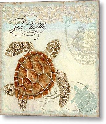 Coastal Waterways - Green Sea Turtle 2 Metal Print by Audrey Jeanne Roberts