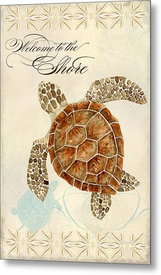 Coastal Waterways - Green Sea Turtle Metal Print by Audrey Jeanne Roberts