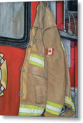 Coat Of Courage- Canadian Flag Metal Print by Bobbi Whelan