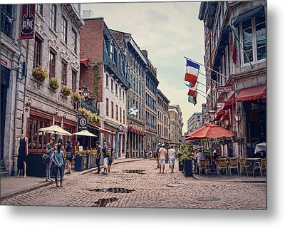 Cobblestone Streets In Old Montreal  Metal Print by Maria Angelica Maira