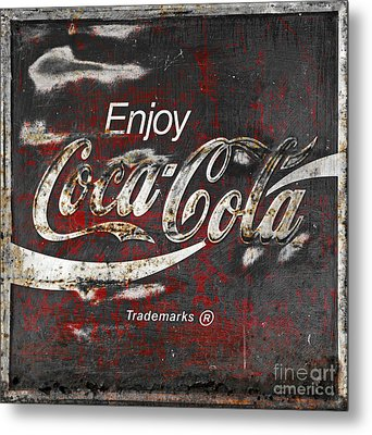 Coca Cola Grunge Sign Metal Print by John Stephens