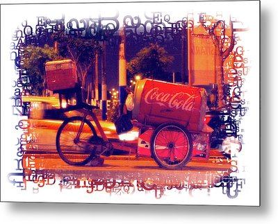 Metal Print featuring the photograph Coca Cola Tricycle Bin - Lima by Mary Machare